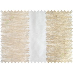 Pure White Gold Color Horizontal Pencil Stripes with Vertical Emb Stripes Polyester Sheer Curtain-Designs