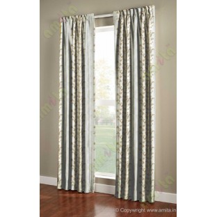 Pure White Gold Color Vertical Seamless Metisse Emb Pattern with Horizontal Pencil Stripes Polyester Sheer Curtain-Designs