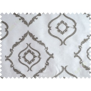 Pure White Black Brown Color Traditional Emb Damask Pattern Polyester Sheer Curtain-Designs