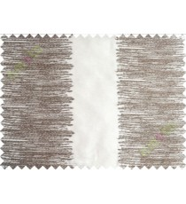 White Brown Color Horizontal Pencil Stripes with Vertical Emb Stripes Polyester Sheer Curtain-Designs