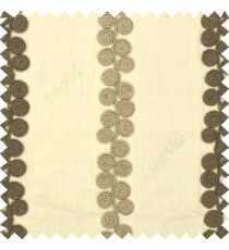 Grey beige cream color traditional vertical swirls circles embossed pattern on solid plain background linen main curtain