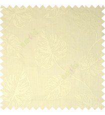 Pure White Birch Leaf Pattern with White Background Cotton Main Curtain