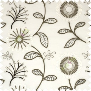 Brown white color beautiful flower geometric circle twigs floral leaf embroidery pattern sheer curtain