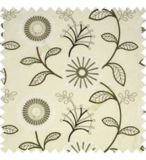 Dark grey cream white color sunflower twig leaf pattern embroidery designs poly main curtain