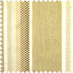 Brown beige grey color vertical zari embroidery chenille stripes with polka dots jute finished texture sheer curtain