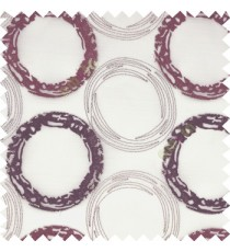 Large purple and silver beige hand scribble circles on white transparent sheer curtain