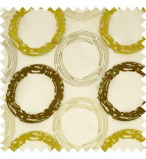 Large purple and silver yellow hand scribble circles on white transparent sheer curtain