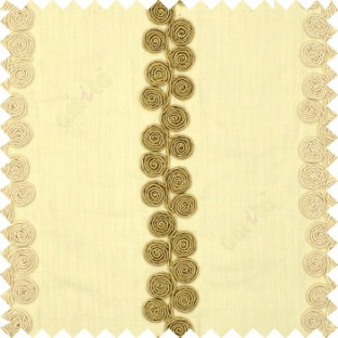 Cream beige white color traditional vertical swirls circles embossed pattern on solid plain background linen main curtain