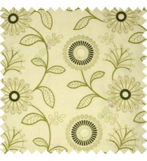 Green white beige color sunflower twig leaf pattern embroidery designs poly main curtain
