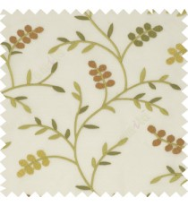 Green orange beige white color natural look beautiful floral twig pattern leaf flower buds circles embroidery designs with thick fabric poly sheer curtain