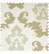 Cream brown grey color big damask beautiful embroidery pattern swirls traditional designs with solid background polyester sheer curtain