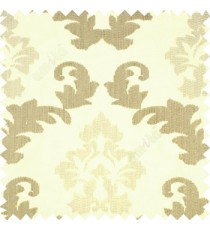 Cream brown grey color big damask beautiful embroidery pattern swirls traditional designs with solid background polyester main curtain