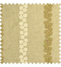 Cream brown beige color traditional vertical swirls circles embossed pattern on solid plain background linen main curtain