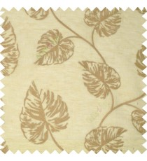 Brown beige beautiful big leaf self design transparent background linen embroidery sheer curtain