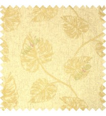 Brown Birch Leaf Pattern with White Background Cotton Main Curtain