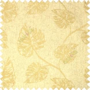 Brown Birch Leaf Pattern with White Background Cotton Main Curtain