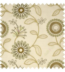 Brown grey color beautiful flower geometric circle twigs floral leaf embroidery pattern sheer curtain
