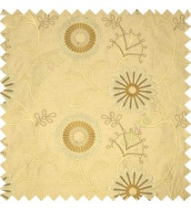 Brown grey color sunflower twig leaf pattern embroidery designs poly main curtain