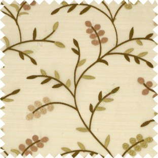Dark brow purple color natural look beautiful floral twig pattern leaf flower buds circles embroidery designs with thick fabric poly sheer curtain
