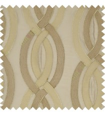 Brown silver color traditional ogee pattern vertical embroidery flowing designs with transparent background sheer curtain