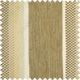 Cream white beige color vertical zari embroidery chenille stripes with polka dots jute finished texture sheer curtain