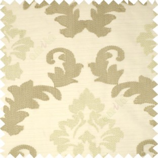 Light brown color big damask beautiful embroidery pattern swirls traditional designs with solid background polyester sheer curtain