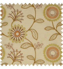 Brown brick red color beautiful flower geometric circle twigs floral leaf embroidery pattern sheer curtain