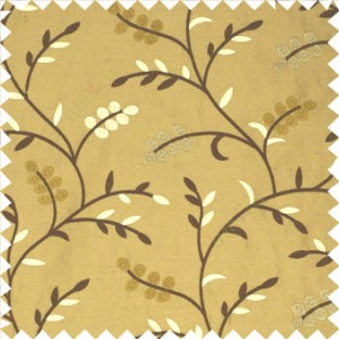 Dark brown cream color natural look beautiful floral twig pattern leaf flower buds circles embroidery designs with thick fabric poly main curtain