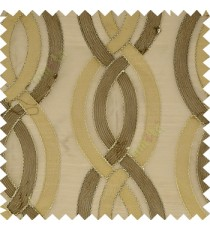 Dark brown gold color traditional ogee pattern vertical embroidery flowing designs with transparent background sheer curtain