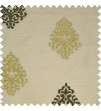Dark brown silver beige color traditional embroidery damask design horizontal lines with silver zari on transparent background sheer curtain