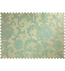 Brown blue floral poly main curtain designs