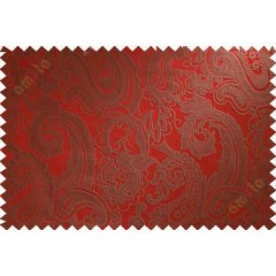 Red brown big motif poly main curtain designs