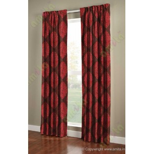 Brown red motif poly main curtain designs