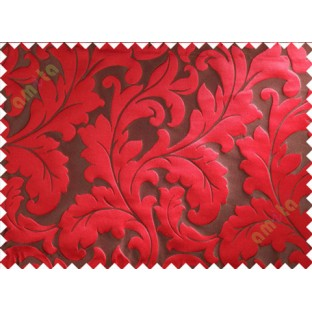 Brown red big motif poly main curtain designs