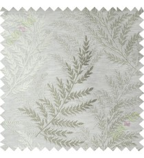 Beige green leafy polycotton main curtain designs