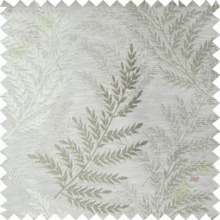 Beige green leafy polycotton main curtain designs