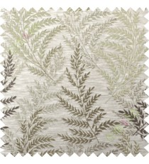 Brown biige leafy polycotton main curtain designs