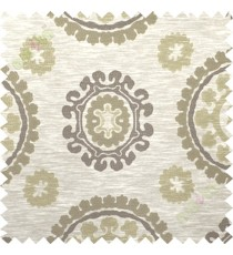 Brown beige quatrefoil poly main curtain designs