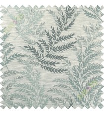 Blue grey leafy polycotton main curtain designs