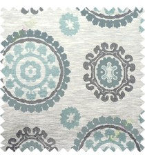 Blue grey quatrefoil poly main curtain designs