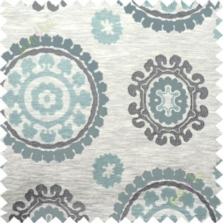Blue grey quatrefoil poly main curtain designs