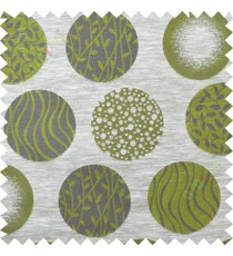 Green grey geometric polycotton main curtain designs