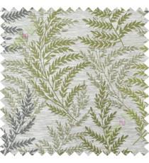 Green grey leafy polycotton main curtain designs