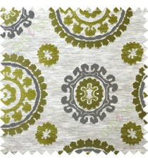 Green grey quatrefoil poly main curtain designs