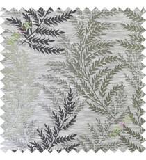Black grey leafy polycotton main curtain designs