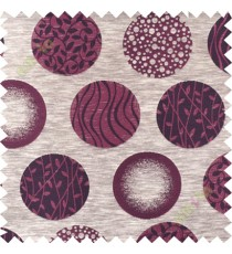 Maroon brown geometric polycotton main curtain designs