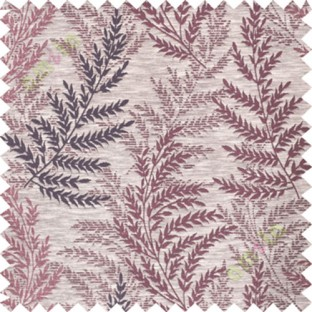 Maroon purple leafy polycotton main curtain designs