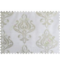 White Grey Color Leatherette Damask Patch with Transparent Background Polycotton Sheer Curtain-Designs