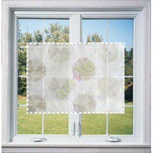 White Grey Geometric Emb Design with Transparent Background Polycotton Sheer Curtain-Designs