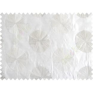 White Grey Geometric Emb Design Design Polycotton Main Curtain-Designs
